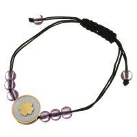 Edelstahl Woven Ball Armbänder, mit Glasperlen & Nylonschnur & Weiße Muschel, flache Runde, goldfarben plattiert, einstellbar & für Frau, 16mm, 5x6.5mm, verkauft per ca. 6-8 ZollInch Strang