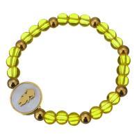 Edelstahl Armband, mit Glasperlen & Weiße Muschel, flache Runde, goldfarben plattiert, für Frau, 16mm, 5.5x6.5mm, verkauft per ca. 7 ZollInch Strang