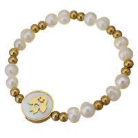Edelstahl Armband, mit Weiße Muschel & Glasperlen, flache Runde, goldfarben plattiert, für Frau, 16mm, 5x6mm, verkauft per ca. 7 ZollInch Strang
