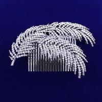 Dekoratives Haarkämmchen, Zinklegierung, Platinfarbe platiniert, für Frau & mit Strass, frei von Blei & Kadmium, 110x90mm, verkauft von PC