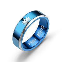 Ehepaar Fingerringe, Titanstahl, Krone, Platinfarbe platiniert, verschiedene Größen vorhanden & verschiedene Stile für Wahl & für Frau, keine, 8mm, verkauft von PC