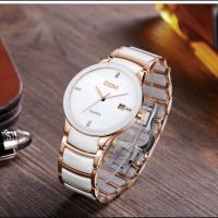 DOM® Uhrenkollektion, Edelstahl, mit Porzellan & Glas, plattiert, für den Menschen & mit Strass, keine, 36.5mm, Länge:ca. 7.8 ZollInch, verkauft von PC