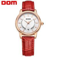 DOM® Uhrenkollektion, Edelstahl, mit Leder & Glas, plattiert, für Frau & mit Strass, keine, 34mm, Länge:ca. 7.2 ZollInch, verkauft von PC
