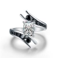Zirkonia Micro Pave Sterling Silber Ringe, Messing, silberfarben plattiert, verschiedene Größen vorhanden & Micro pave Zirkonia & für Frau, keine, frei von Nickel, Blei & Kadmium, 6x8mm, verkauft von PC