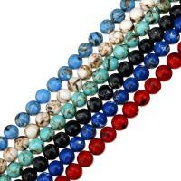 gefärbte Jade Perle, rund, verschiedene Größen vorhanden, keine, Bohrung:ca. 0.5-1.5mm, verkauft per ca. 16 ZollInch Strang