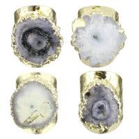 Messing Manschette Fingerring, mit Eisquarz Achat, Klumpen, goldfarben plattiert, verschiedene Stile für Wahl, 30mm, Bohrung:ca. 1.5mm, Größe:8, verkauft von PC