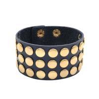 Lederband Armband, Leder, mit Messing, Kreisring, goldfarben plattiert, unisex, 39mm, verkauft per ca. 9.1 ZollInch Strang