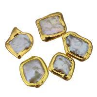 Natürliche kultivierte Süßwasserperlen Perle, Klumpen, goldfarben plattiert, 14-19x17-20x4-7mm, Bohrung:ca. 0.5mm, 10PCs/Menge, verkauft von Menge