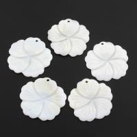 Natürliche weiße Muschel Anhänger, Blume, weiß, 37x2mm, Bohrung:ca. 1.5mm, 10PCs/Tasche, verkauft von Tasche