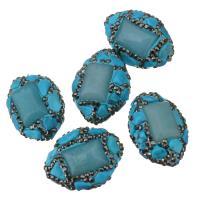 Strass Ton befestigte Perlen, Lehm pflastern, mit Synthetische Türkis, mit Strass, blau, 20-22x26-28x14-16mm, Bohrung:ca. 1mm, 10PCs/Menge, verkauft von Menge