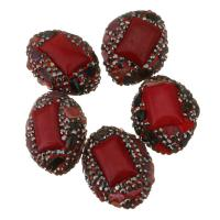 Strass Ton befestigte Perlen, Lehm pflastern, mit Malaysia Jade, mit Strass, 20-21x25-26x14-15mm, Bohrung:ca. 1mm, 10PCs/Menge, verkauft von Menge
