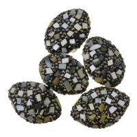 Strass Ton befestigte Perlen, Lehm pflastern, mit Gelbe Muschel, mit Strass, 19-20x27-29x12mm, Bohrung:ca. 1mm, 10PCs/Menge, verkauft von Menge