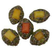 Strass Ton befestigte Perlen, Lehm pflastern, mit Malaysia Jade & Gelbquarz Perlen, mit Strass, 21-23x29x14-16mm, Bohrung:ca. 1mm, 10PCs/Menge, verkauft von Menge