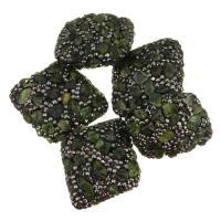 Strass Ton befestigte Perlen, Lehm pflastern, mit Prehnit, mit Strass, 31-33x38-39x15mm, Bohrung:ca. 1mm, 10PCs/Menge, verkauft von Menge