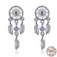 Thailand Sterling Schmuck Ohrring, Micro pave Zirkonia & für Frau, violett, 9x23mm, verkauft von Paar