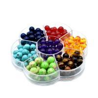Mischedelstein Perlen, Edelstein, gemischt, 8mm, Bohrung:ca. 1-2mm, 140PCs/Box, verkauft von Box