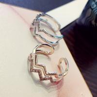 Messing Fingerring, plattiert, für Frau & mit Strass, keine, frei von Nickel, Blei & Kadmium, verkauft von PC