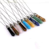 Zinklegierung Halskette, mit Edelstein, silberfarben plattiert, verschiedenen Materialien für die Wahl & unisex, keine, frei von Nickel, Blei & Kadmium, 8x32mm, verkauft per ca. 16.93 ZollInch Strang