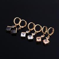 Messing Leverback Ohrring, vergoldet, für Frau & mit kubischem Zirkonia, keine, frei von Nickel, Blei & Kadmium, 8x28mm, verkauft von Paar