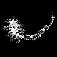 Braut Haar Blumen, Messing, mit Kristall & Kunststoff Perlen & Acryl, silberfarben plattiert, frei von Nickel, Blei & Kadmium, 260x75mm, verkauft von PC