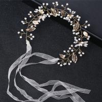 Zinklegierung Schweißband, mit Stoff & Kunststoff Perlen, goldfarben plattiert, für Braut & mit Strass, frei von Nickel, Blei & Kadmium, 320x45mm, verkauft von PC