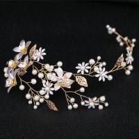 Braut Haar Blumen, Zinklegierung, goldfarben plattiert, mit Strass, frei von Nickel, Blei & Kadmium, 120x240mm, verkauft von PC