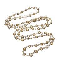 Süßwasserperlen Pullover Halskette, Natürliche kultivierte Süßwasserperlen, mit Glas-Rocailles & Natürlicher Quarz, für Frau & facettierte, 6x5x8mm-5x6mm, verkauft per ca. 39.3 ZollInch Strang