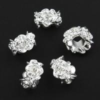 Zink Legierung Europa Perlen, Zinklegierung, Blume, silberfarben plattiert, ohne troll & mit Strass, frei von Nickel, Blei & Kadmium, 8x13mm, Bohrung:ca. 5mm, verkauft von PC