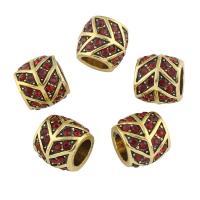 Zinklegierung Großes Loch Perlen, Trommel, antike Goldfarbe plattiert, mit Strass, frei von Nickel, Blei & Kadmium, 11x12mm, Bohrung:ca. 7mm, verkauft von PC