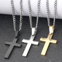 Edelstahl Schmuck Halskette, Kreuz, plattiert, Oval-Kette & für den Menschen, keine, 25x45mm, Länge:ca. 23.6 ZollInch, verkauft von PC