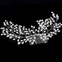 Braut Dekoratives Haarkämmchen, Messing, mit Kunststoff Perlen, plattiert, für Braut & verschiedene Größen vorhanden, frei von Nickel, Blei & Kadmium, 240x80mm, 200x80mm, verkauft von PC