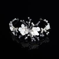 Braut Haar Blumen, Zinklegierung, mit Stoff & Kristall & Kunststoff Perlen, silberfarben plattiert, mit Strass, frei von Nickel, Blei & Kadmium, 280mm, verkauft von PC
