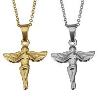 Edelstahl Schmuck Halskette, mit Verlängerungskettchen von 2lnch, Engel, plattiert, unisex & Oval-Kette, keine, 20x25mm, 1.5mm, verkauft per ca. 18 ZollInch Strang