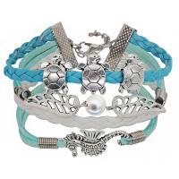 Zinklegierung kombiniertes Armband, mit Baumwollsamt & PU Leder & Kunststoff Perlen, mit Verlängerungskettchen von 2.3inch, silberfarben plattiert, für Frau, Länge:ca. 6.7 ZollInch, 4SträngeStrang/Menge, verkauft von Menge