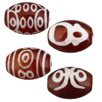 Natürliche Tibetan Achat Dzi Perlen, verschiedene Muster für Wahl, 14x10x10mm, Bohrung:ca. 1.5mm, 5PCs/Menge, verkauft von Menge