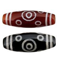 Natürliche Tibetan Achat Dzi Perlen, zehn -eyed, keine, 30x10x10mm, Bohrung:ca. 2.5mm, 5PCs/Menge, verkauft von Menge