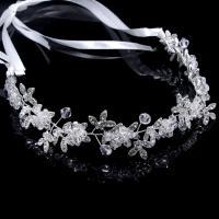 Zinklegierung Schweißband, mit Stoff & Kristall, silberfarben plattiert, für Braut, frei von Nickel, Blei & Kadmium, 350mm, verkauft von PC