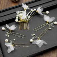 Stoff Haar-Schmuck-Set, Haar Kamm & Haar-Stick, mit Kunststoff Perlen & Zinklegierung, Schmetterling, goldfarben plattiert, für Braut & mit Strass, frei von Nickel, Blei & Kadmium, 130mm, 5PCs/setzen, verkauft von setzen