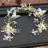 Braut Haar Blumen, Stoff, mit Kunststoff Perlen & Zinklegierung, goldfarben plattiert, für Braut, frei von Nickel, Blei & Kadmium, 350, verkauft von PC