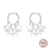 925er Sterling Silber Huggie Hoop Ohrhänger, Stern, platiniert, für Frau, 18x32mm, verkauft von Paar