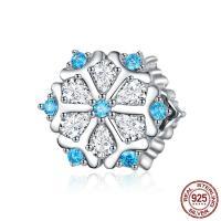 925 Sterlingsilber European Perlen, 925er Sterling Silber, Schneeflocke, platiniert, Micro pave Zirkonia & ohne troll, blau, 12x11mm, Bohrung:ca. 4.5-5mm, verkauft von PC