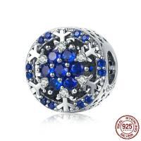 Bali Sterling Silber Perlen, Thailand, Schneeflocke, Micro pave Zirkonia & ohne troll, blau, 12x12mm, Bohrung:ca. 4.5-5mm, verkauft von PC