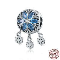 Bali Sterling Silber Perlen, Thailand, Schneeflocke, Micro pave Zirkonia & ohne troll, 11x19mm, Bohrung:ca. 4.5-5mm, verkauft von PC