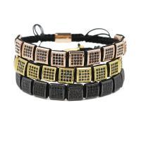 Messing Woven Ball Armbänder, mit Nylonschnur, Squaredelle, plattiert, unisex & einstellbar & Micro pave Zirkonia, keine, 10mm, verkauft per ca. 7.1-7.8 ZollInch Strang