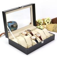 Uhr Schmuckkasten, PU Leder, mit Baumwollsamt & Zinklegierung, Rechteck, schwarz, 305x205x85mm, verkauft von PC