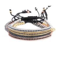 Messing Woven Ball Armbänder, mit Nylonschnur, plattiert, unisex & einstellbar & Micro pave Zirkonia, keine, frei von Nickel, Blei & Kadmium, 4mm, verkauft per ca. 7.1-7.8 ZollInch Strang