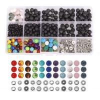 Mischedelstein Perlen, Edelstein, mit Zinklegierung, rund, DIY, 4mm, 6mm, 8mm, 172x100x22mm, 500PaarePärchen/Box, verkauft von Box