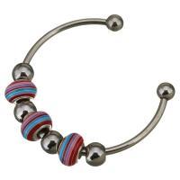 Edelstahl Ball End Stulpe-Armband, mit Lampwork, für Frau, 8.5x14mm, 3mm, Innendurchmesser:ca. 57x43mm, verkauft von PC