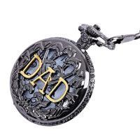Zinklegierung Halskette Uhr, mit Kunststoff, unisex & mit Brief Muster, frei von Blei & Kadmium, 46mm,16mm, verkauft per ca. 1.32 ZollInch Strang