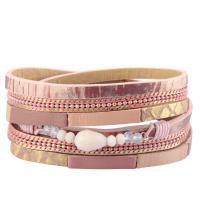 Rindsleder Armband, Kuhhaut, mit Glasperlen & Zinklegierung, plattiert, geflochten & unisex & Multi-Strang, keine, 17mm, verkauft per ca. 15.1 ZollInch Strang